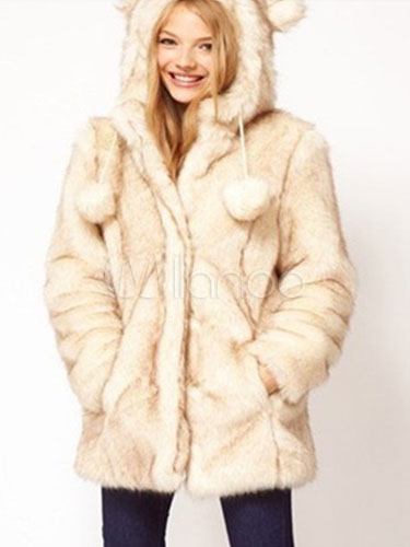 Faux Fur Coat Winter Hooded Pom Poms Beige Fluffy Coat Cheap clothes, free shipping worldwide