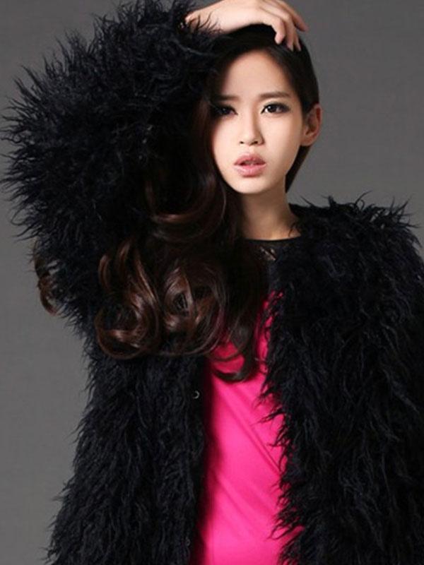 Fluffy Black Coat Faux Fur Long Sleeve Women's Winter Coat Cheap clothes, free shipping worldwide