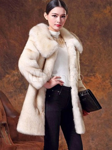 Faux Fur Coat Women Winter Coat Beige Long Sleeve Overcoat Cheap clothes, free shipping worldwide