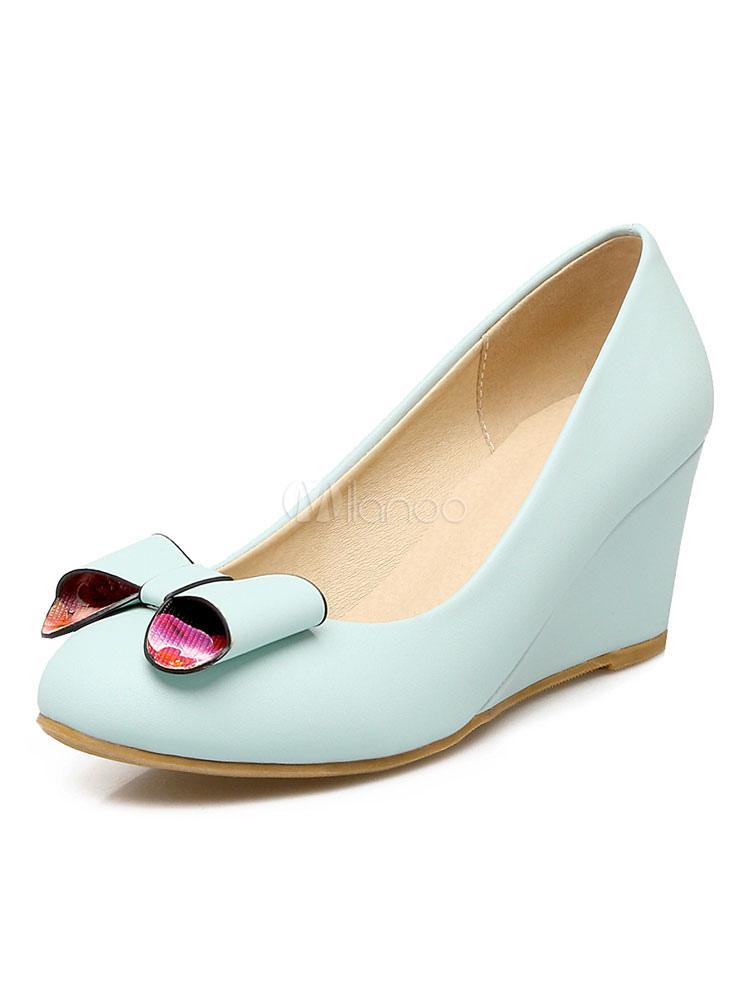 Wedge Shoes Light Blue Round Toe Slip