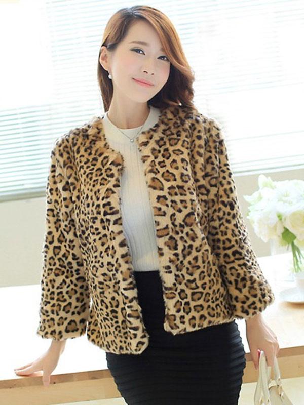 l opard moelleux veste fausse fourrure col rond manches longues hiver manteau femme. Black Bedroom Furniture Sets. Home Design Ideas