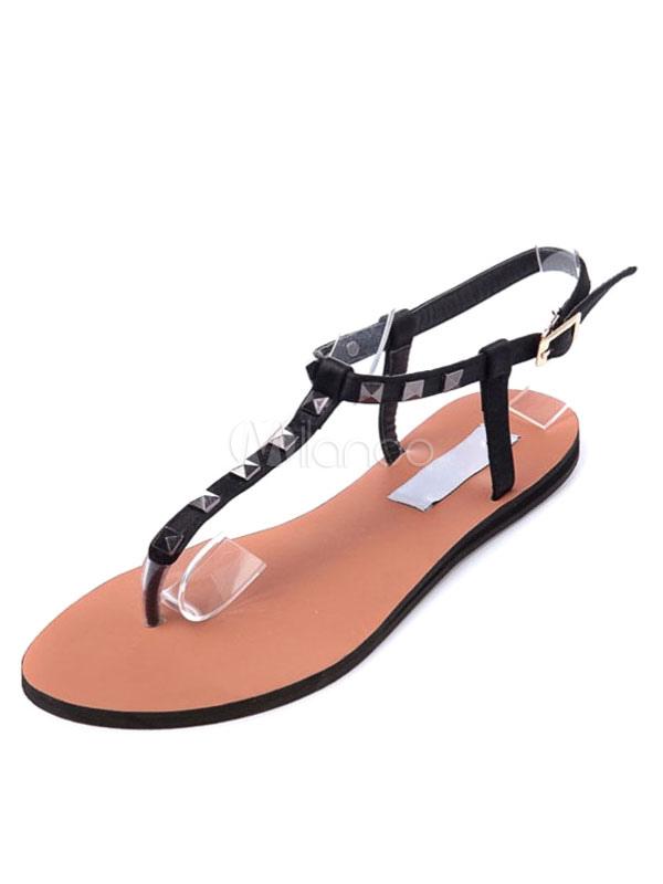Chaussures Rivets Noir Plates Post T Bracelet Femmes D Toe Sandales RjL5Aq34