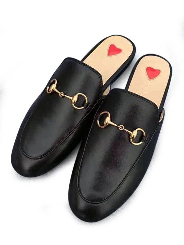Buy Women Black Mules 2018 Round Toe Metal Detail Backless Slip On Mule Loafers for $23.99 in Milanoo store