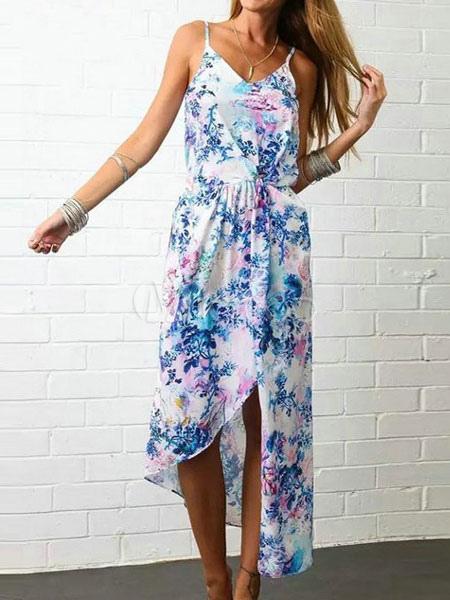 Buy Blue Maxi Dress Chiffon Summer Floral Print Backless Women's Beach Slip Dress for $18.99 in Milanoo store