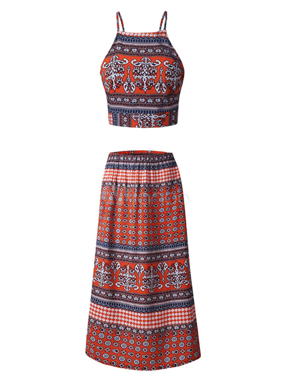 14409bfafc 2 Pieces Boho Set Women's Ethnic Printed Spaghetti Straps Backless Waist  Tie Top With Pleated Maxi ...