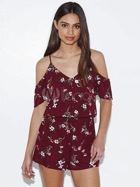054eae6b121 Dark Red Romper Women s Strappy V Neck Short Sleeve Cold Shoulder Floral  Printed Playsuit- ...