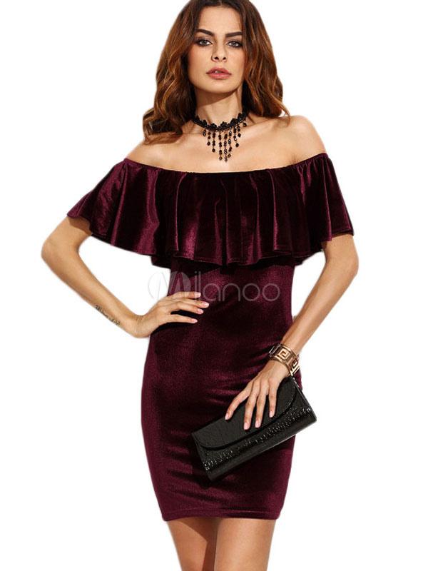 Buy Velvet Bodycon Dress Women's Burgundy Off The Shoulder Cascading Ruffles Wrap Mini Dress for $22.49 in Milanoo store