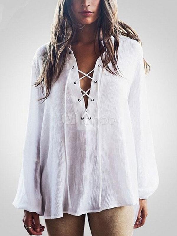 Gola de abertura de cama manga longa renda blusa branca do chiffon feminino  acima do alto ... 8ca4ea127da