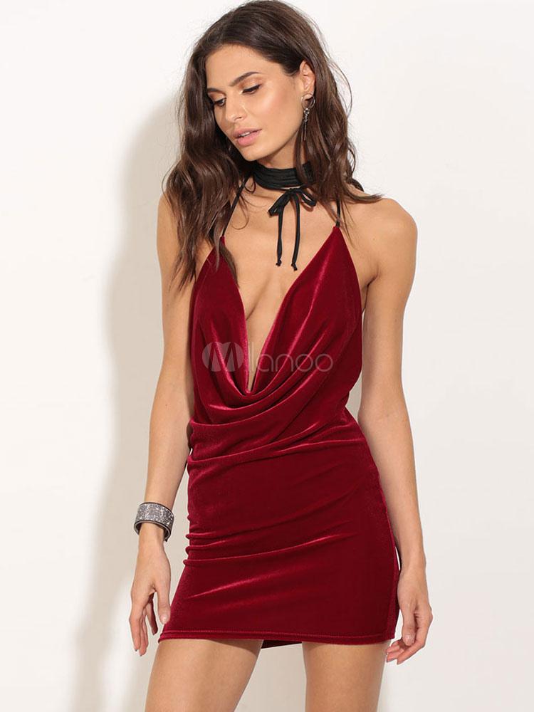 Velvet Mini Dress Women's Burgundy Plunging Neckline Backless Ruched Sexy Slip Dress