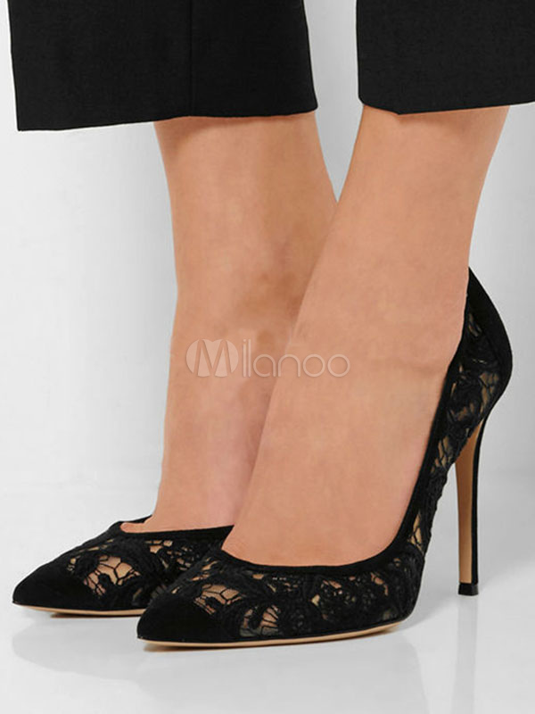 a6a0fc6a4c ... Pointed Toe Heels Plus Size Black Lace Stiletto Heel Slip On Pumps For  Women-No