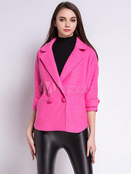 new styles 565f5 efe5a Lana Peacoat cotone donna couverture collare 3/4 lunghezza maniche Dolman  cappotto corto di riempimento