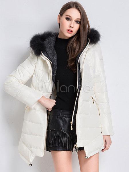 Milanoo / White Winter Coats Faux Fur Hooded Women's Puffer Coat