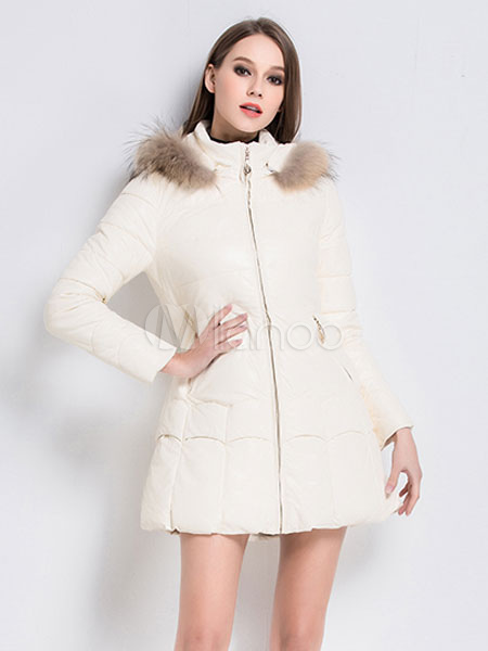 Milanoo / White Winter Coats Faux Fur Hooded Quilted Coat For Women