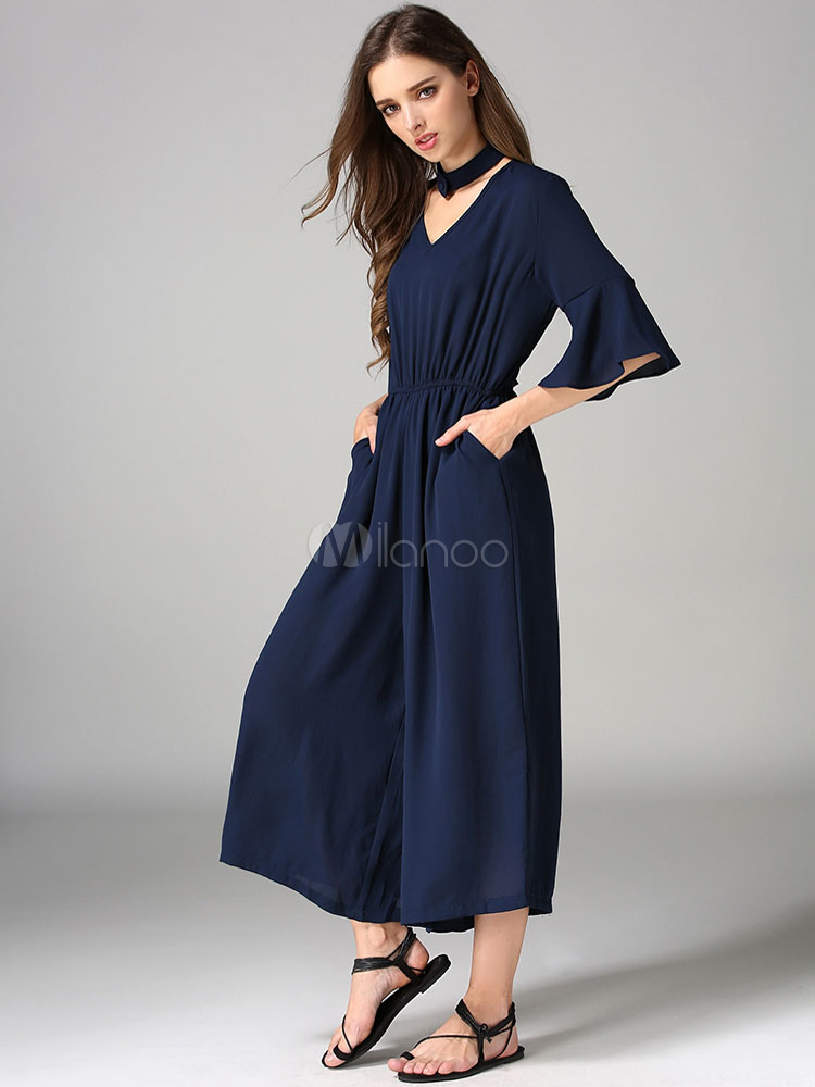 Buy Blue Chiffon Jumpsuit Women's V Neck Half Sleeve Ruffles Draped Wide Leg Chic Jumpsuit for $24.99 in Milanoo store