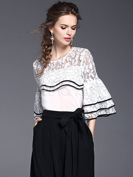 adfe668e091 2 Pieces Lace Set Women's OL Contrast Round Neck Layered Flared Sleeve Top  With Waist Tie Pleated Wide Leg Pants