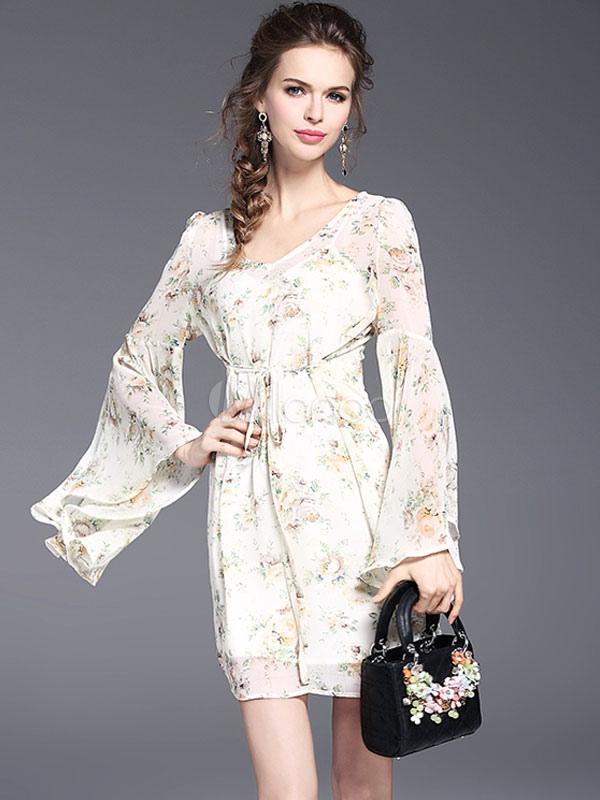 Vestido de verano de color albaricoque de chifón de hojas con manga ...