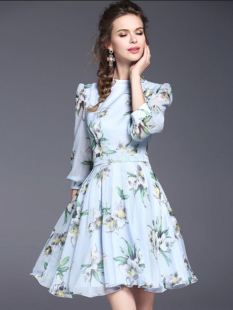 Milanoo / Chiffon Skater Dress Light Blue Floral Print Women's Half Sleeve Summer Flare Dress
