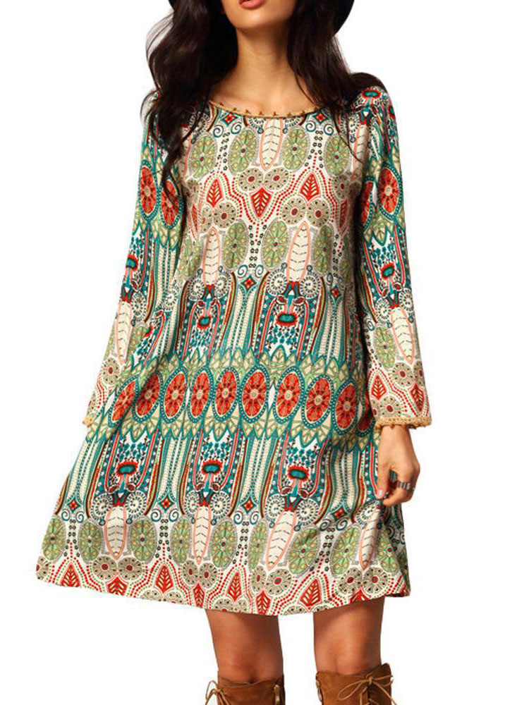 Boho Summer Dress Women's Green Long Sleeve Printed Short Shift Dress Cheap clothes, free shipping worldwide