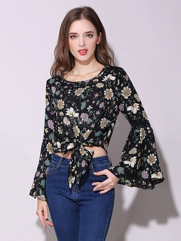 1455e3017 Gola redonda manga longa queimado cintura impresso Floral gravata babados blusa  chique blusa de Chiffon preto ...