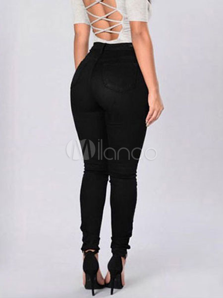 Buy Women's White Jeans High Rise Chic Skinny Denim Pants for $18.89 in Milanoo store
