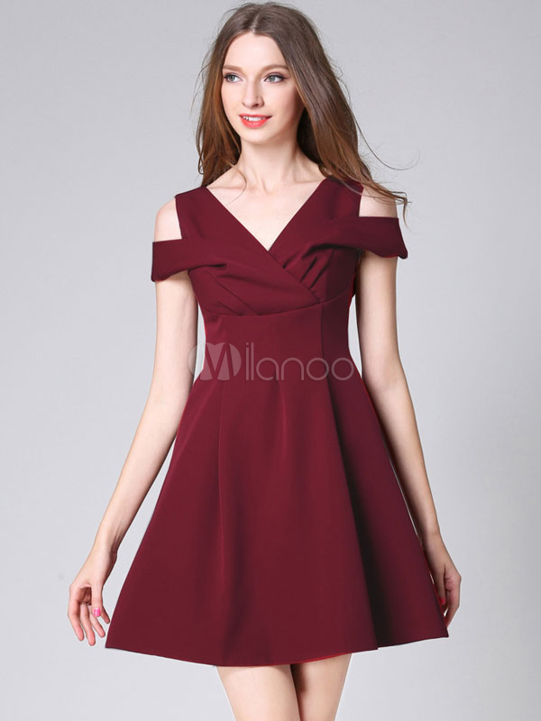 b008d3e3c7 Burgundy Skater Dress V Neck Off The Shoulder Women s A Line Short ...