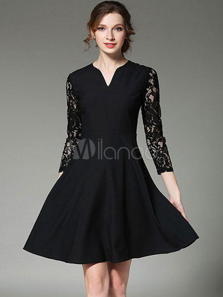 Buy Black Skater Dress Lace Patchwork V Neck 3/4 Length Illusion Sleeve Pleated Flare Dress for $29.99 in Milanoo store