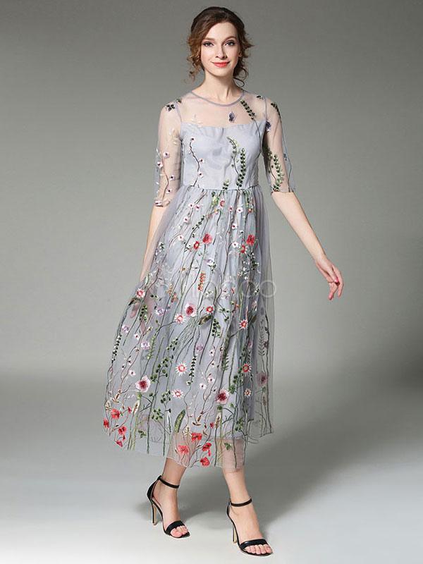 Grey Skater Dress Women S Round Neck Half Sleeve Floral