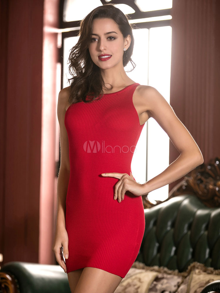 Buy Red Mini Dress Jewel Neck Sleeveless Cross Back Knit Short Dress for $14.81 in Milanoo store