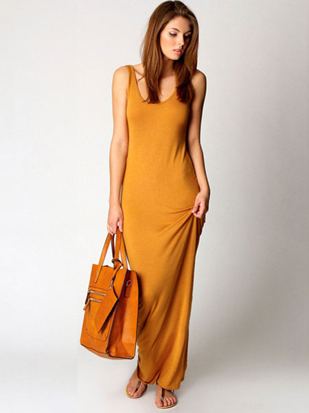 Yellow Maxi Dress Women's Jewel Neck Sleeveless Long Dress