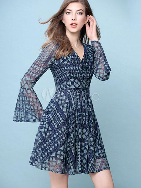 Milanoo / Blue Skater Dress Lace V Neck Bell Long Sleeve Printed Slim Fit Flare Dress For Women