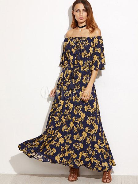 quality design be1f7 57ee5 Abito lungo giallo di poliestere con spalle scoperte mezze maniche con  annodature stampa floreale abbigliamento giornaliero donna