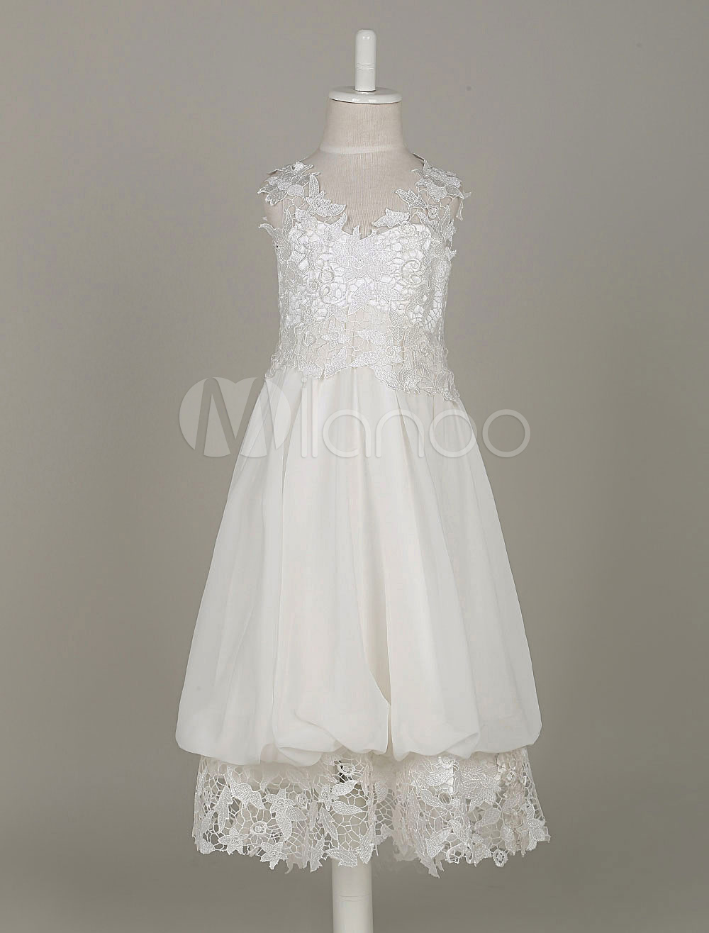 Ivory Junior Bridesmaid Dresses Lace V Neck Chiffon A Line Knee Length Kids Boho Flower Girl Dresses