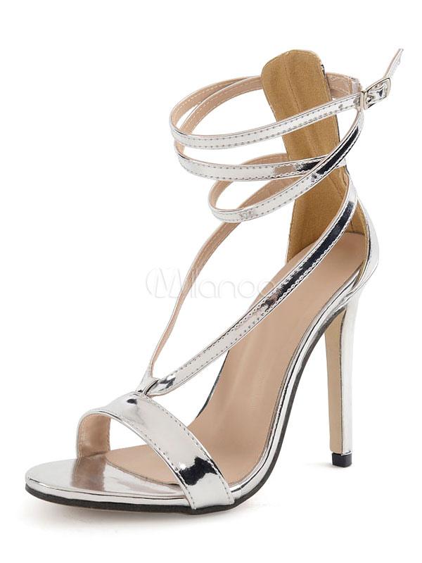 e27960edcee273 High Heel Sandals Silver Open Toe Stiletto Heel Ankle Strap Sandal Shoes-No. 1 ...