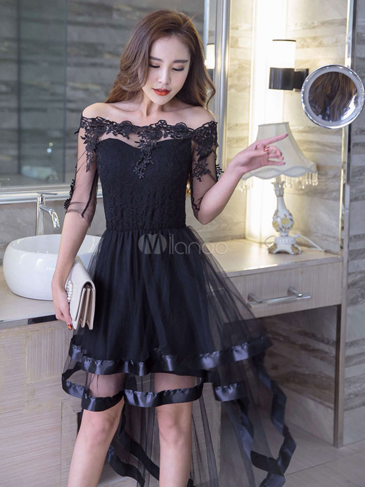 Lace Skater Dress Tulle Patchwork Off The Shoulder Short Sleeve Pleated Ruffles High Low Layered Flare Dress