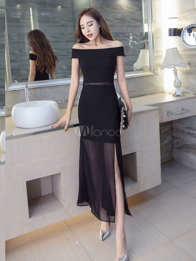 Buy Black Bodycon Dress Off The Shoulder Short Sleeve Slim Fit Sheath Dress for $23.74 in Milanoo store