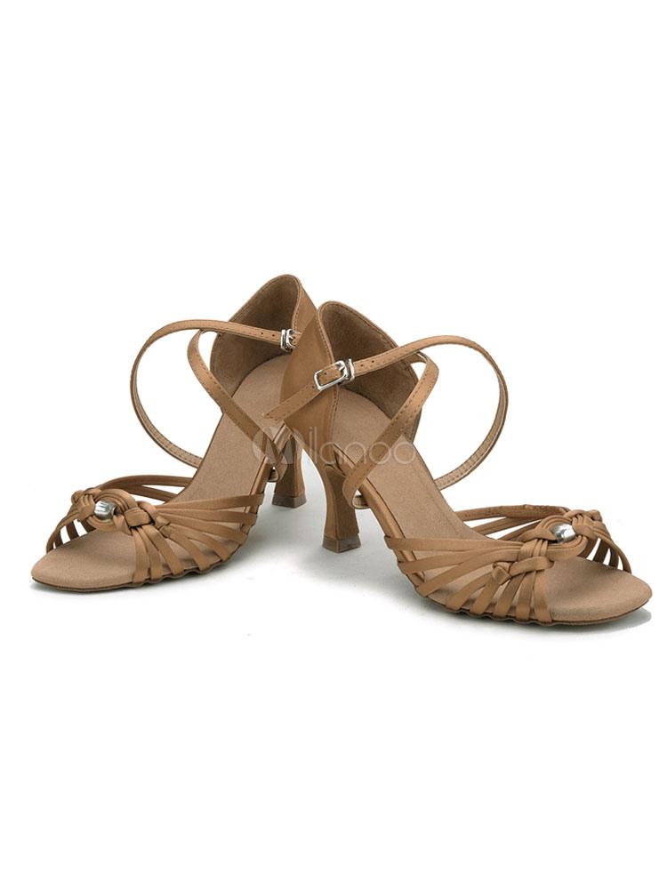 Zapatos de bailes latinos de satén marrón tejidos Tacón bobina para baile de puntera abierta MmccbZODt