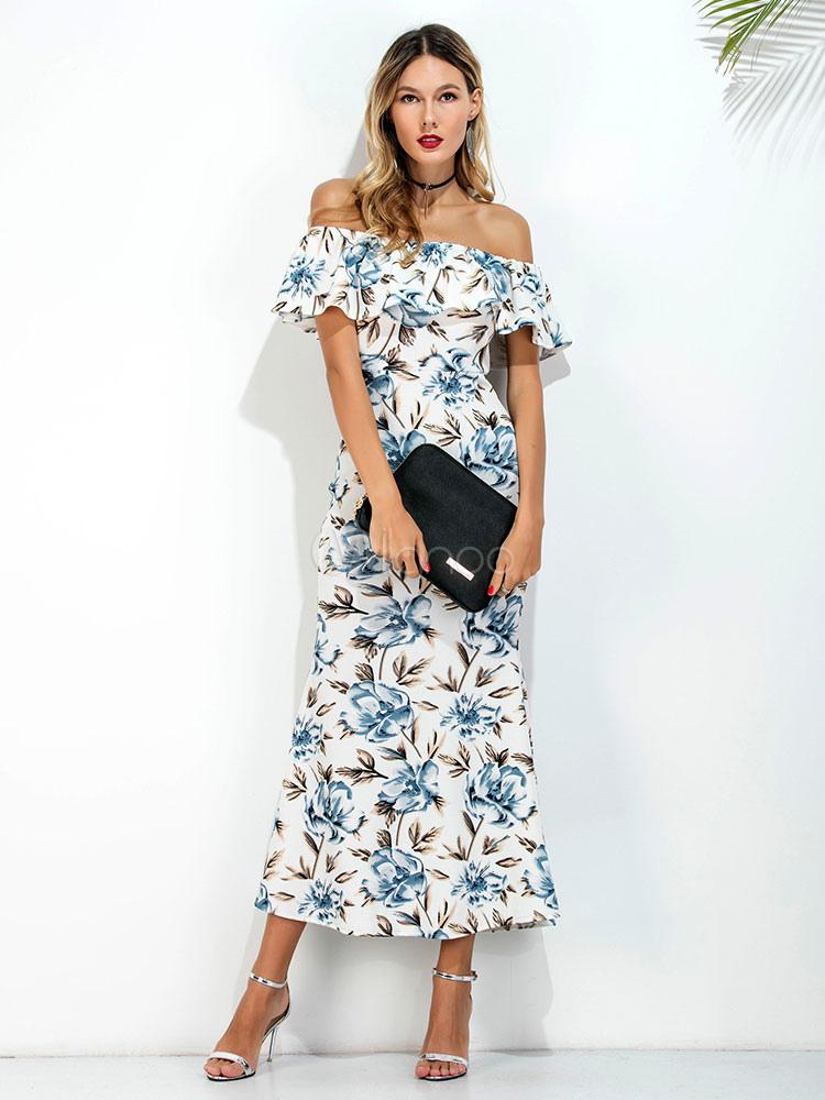 Langes Kleid aus Baumwolle mit Carmenausschnitt und ...
