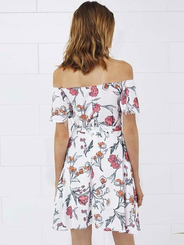 Milanoo / Chiffon Skater Dress Boho White Ruffle Off The Shoulder Short Sleeve Printed Flare Dress