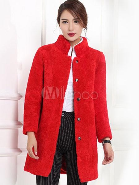 Faux Fur Coat Red Longline Women's Long Sleeve Winter Fluffy Coat