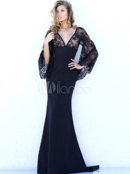 Buy Black Maxi Dress Mermaid Lace Illusion V Neck Long Sleeve Backless Women's Long Dress With Train for $36.10 in Milanoo store
