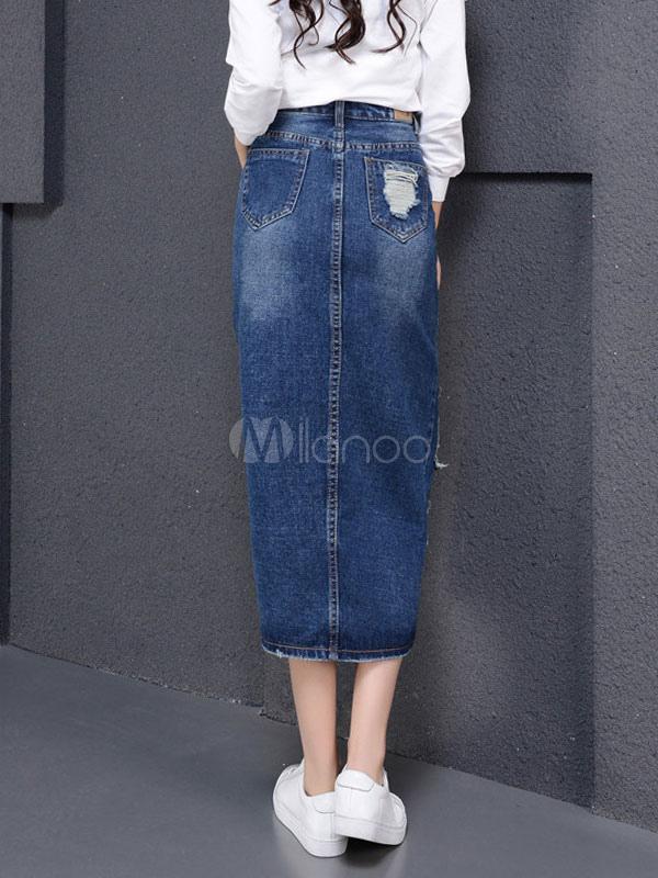 d83675110da0 Jupe droite longue jean