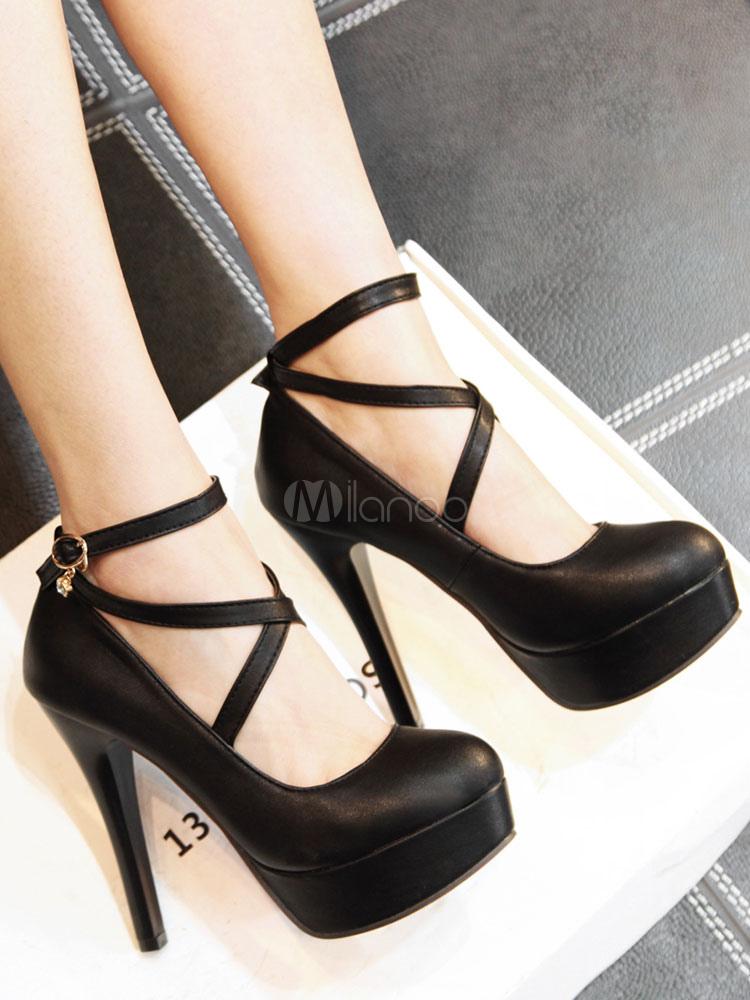 Zapatos de tacón de puntera redonda de PU Color liso con hebilla de tacón de stiletto 7uwdj5LM