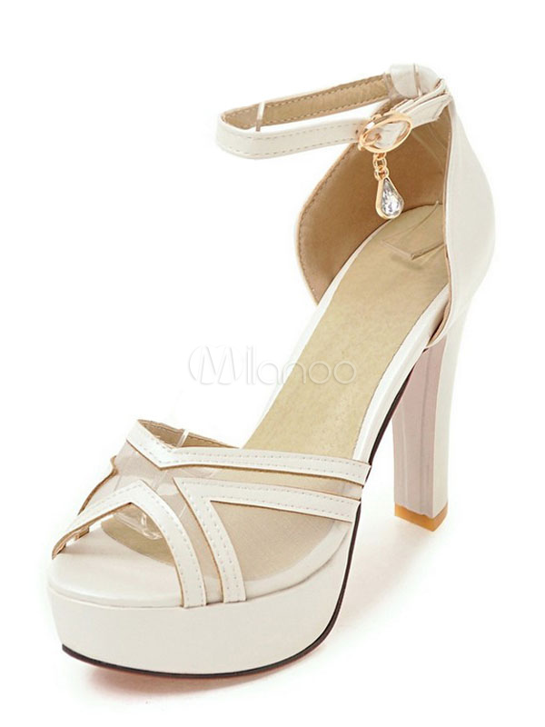 Buy High Heel Sandals Platform White Mesh Ankle Strap Chunky Heel Sandal Shoes for $34.99 in Milanoo store