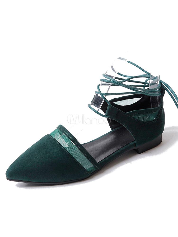 Zapatos planos Planos con cinta en la tobillera de puntera puntiaguada para mujer estilo moderno Color liso para pasar por la noche DgCUI5