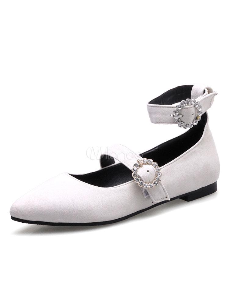 Zapatos planos Planos con cinta en la tobillera de puntera puntiaguada para mujer estilo moderno Color liso para pasar por la noche H7UMPQ3jnI
