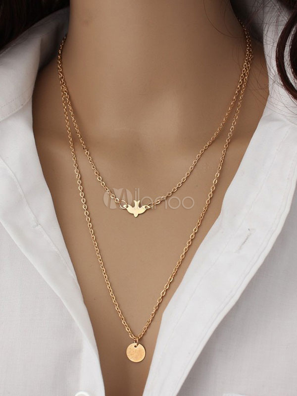 Women's Pendant Necklace Alloy Metal Detail Tiered Necklace
