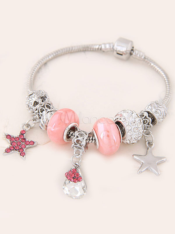 Buy Women's Stretch Bracelet Pink Jeweled Rhinestone Star Pendant Charm Bracelet for $7.19 in Milanoo store