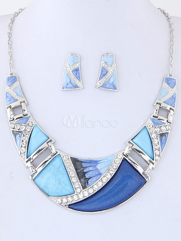 Blue Jewelry Set Rhinestones Women's Statement Necklace And Stud Earrings