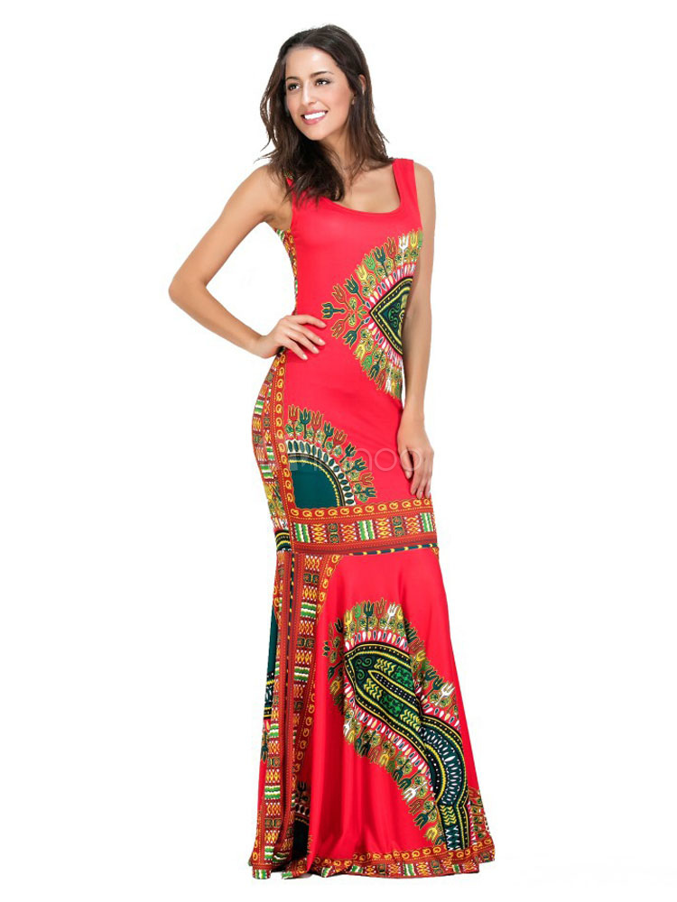 Red Maxi Dress Boho Jewel Neck Sleeveless Printed Cotton Long Dress For Women