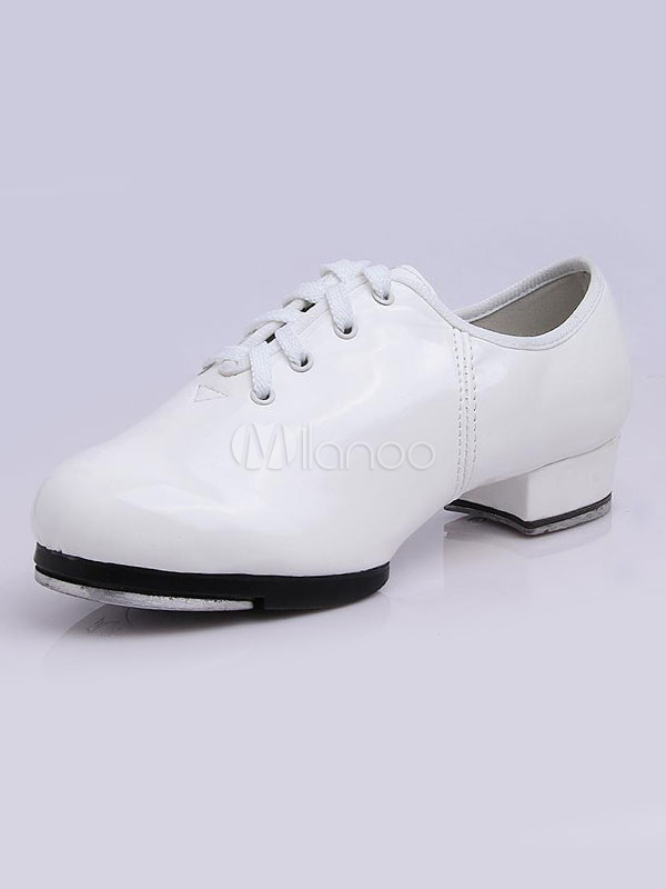 511e3e0a35 Sapatos de sapateado branco redondo Toe renda acima do calcanhar Chunky  Ballroom sapatos para mulheres- ...